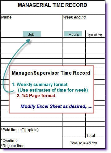... Managerial Time Record · Specialized Job Format ...  Excel Job Sheet Template