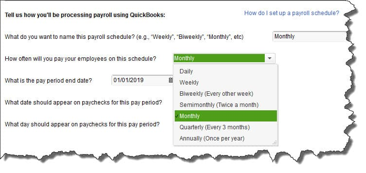 The QuickBooks Payroll Schedule Window