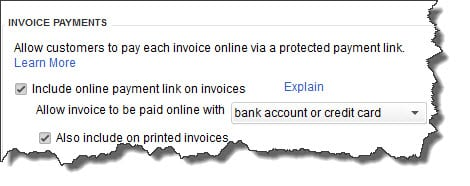 QuickBooks Payments-Preferences-Include an Online Payments Link on Invoices
