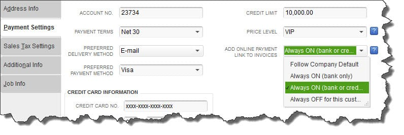 QuickBooks Payments-Customer Payment Settings can be set for Invoice links