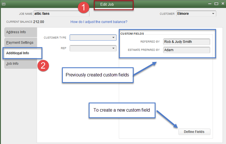 Custom Fields in QuickBooks-Inside a Customer or Job Record