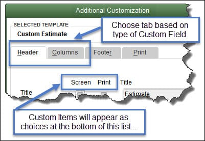 Custom Fields in QuickBooks Forms