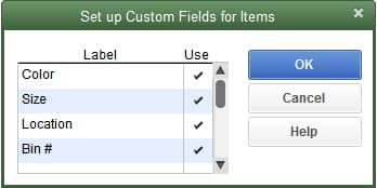 Adding Custom Fields to QuickBooks Items