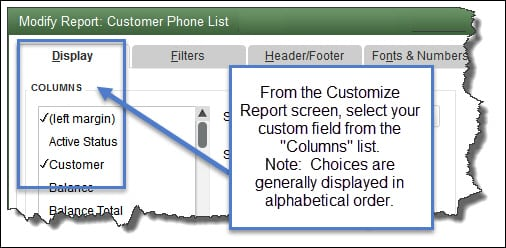 Custom Fields in QuickBooks Reports