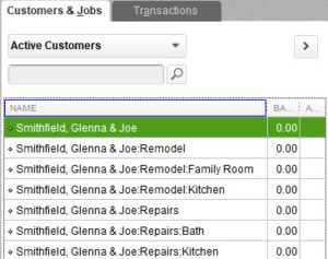 Flat view of Customer:Jobs in QuickBooks