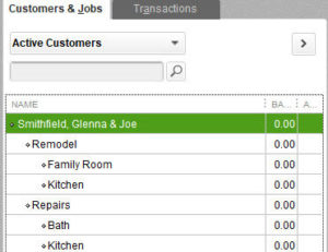 Hierarchical view of Customer:Jobs in QuickBooks